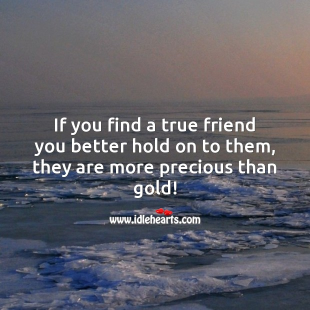 A true friend is more precious than gold! True Friends Quotes Image