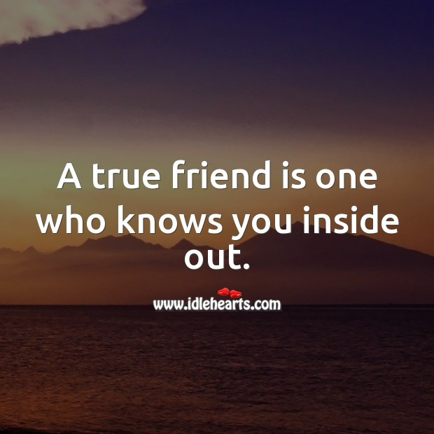 A true friend is one who knows you inside out. True Friends Quotes Image