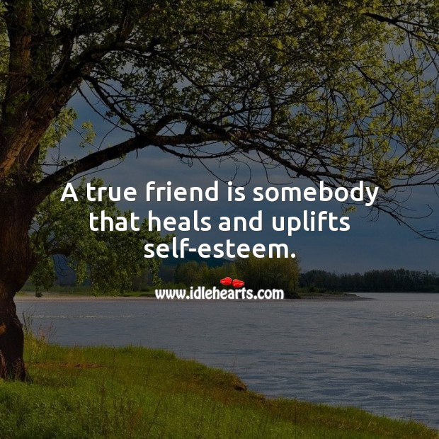 A true friend is somebody that heals and uplifts self-esteem. True Friends Quotes Image