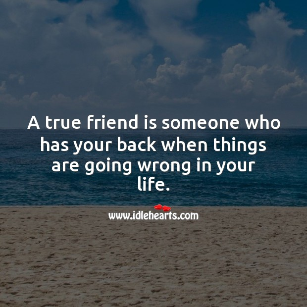 A true friend is someone who has your back when things are going wrong in your life. True Friends Quotes Image