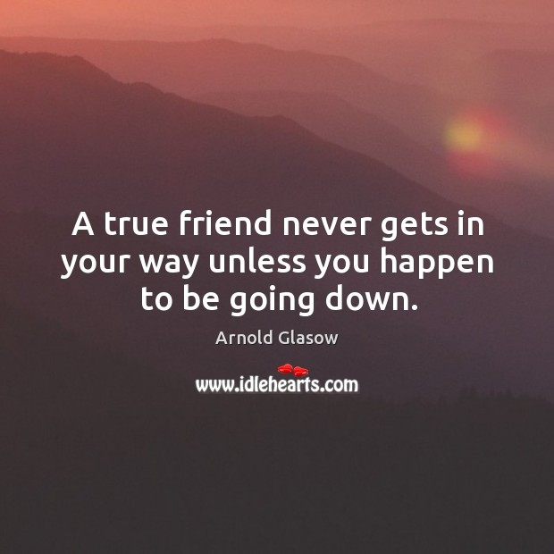 Image, A true friend never gets in your way unless you happen to be going down.