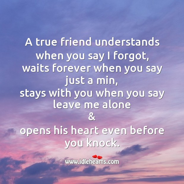 A true friend understands. Friendship Messages Image