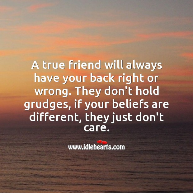A true friend will always have your back right or wrong. True Friends Quotes Image