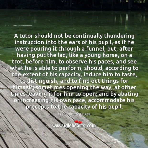 Image, A tutor should not be continually thundering instruction into the ears of
