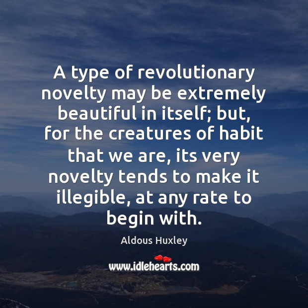 Image, A type of revolutionary novelty may be extremely beautiful in itself; but,