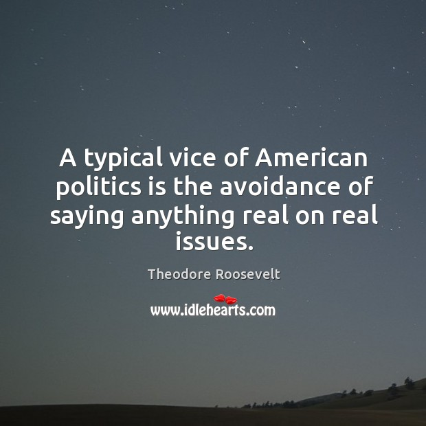 Image, A typical vice of american politics is the avoidance of saying anything real on real issues.