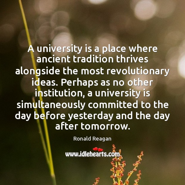 Image, A university is a place where ancient tradition thrives alongside the most
