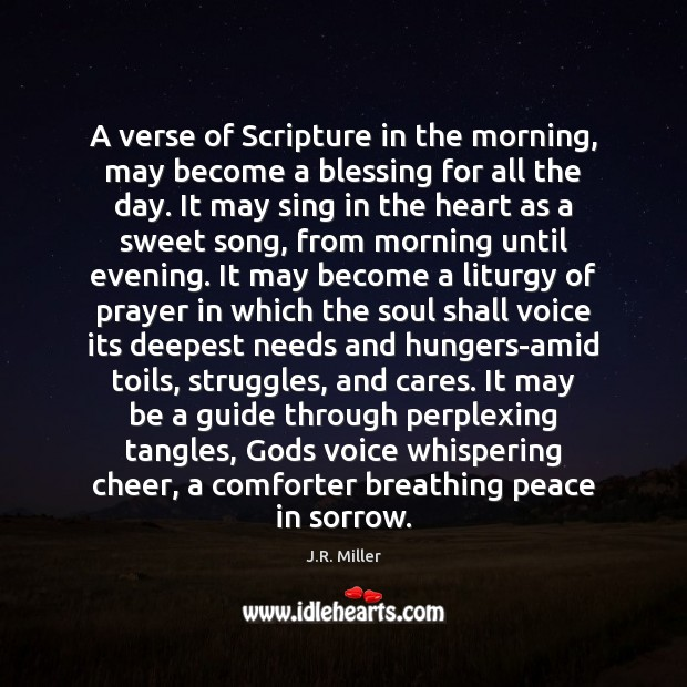 A verse of Scripture in the morning, may become a blessing for Image