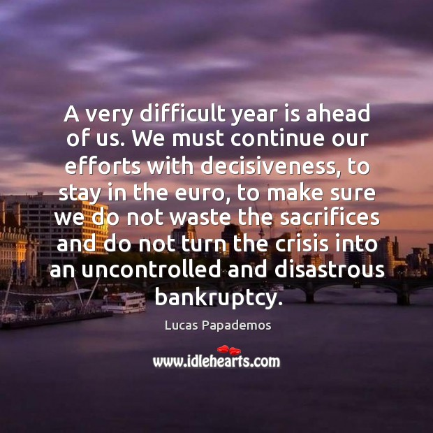 A very difficult year is ahead of us. We must continue our efforts with decisiveness Image