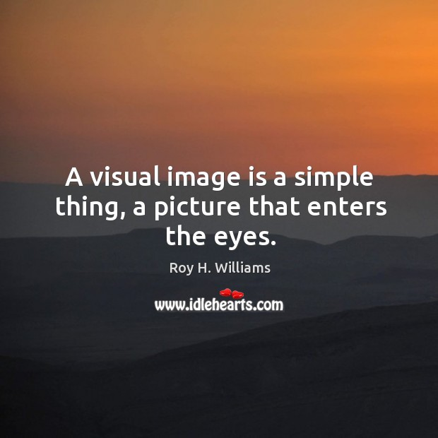 A visual image is a simple thing, a picture that enters the eyes. Roy H. Williams Picture Quote
