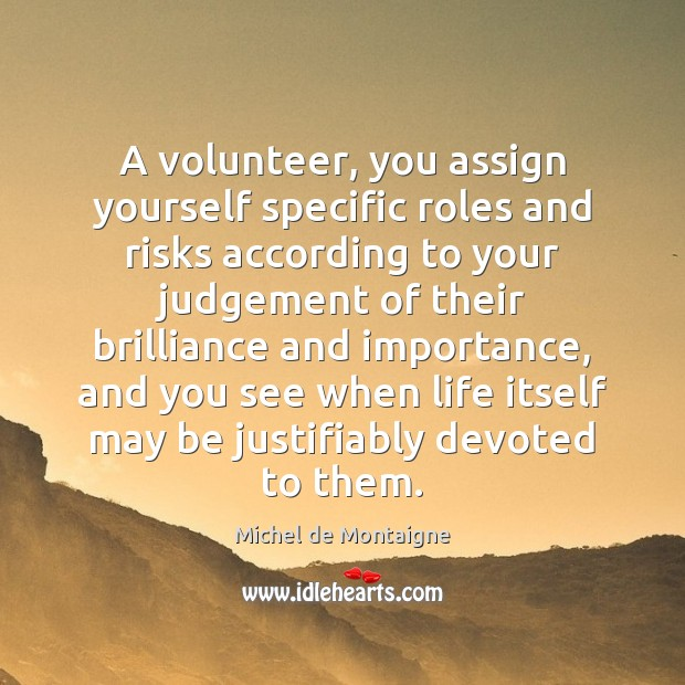 Image, A volunteer, you assign yourself specific roles and risks according to your