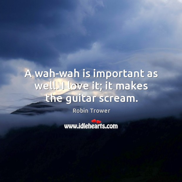 A wah-wah is important as well. I love it; it makes the guitar scream. Robin Trower Picture Quote