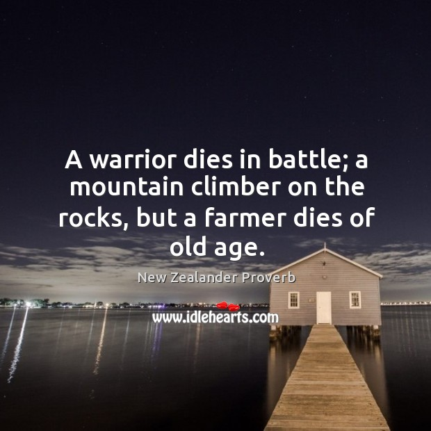 Image, A warrior dies in battle; a mountain climber on the rocks