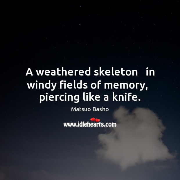 A weathered skeleton   in windy fields of memory,   piercing like a knife. Matsuo Basho Picture Quote