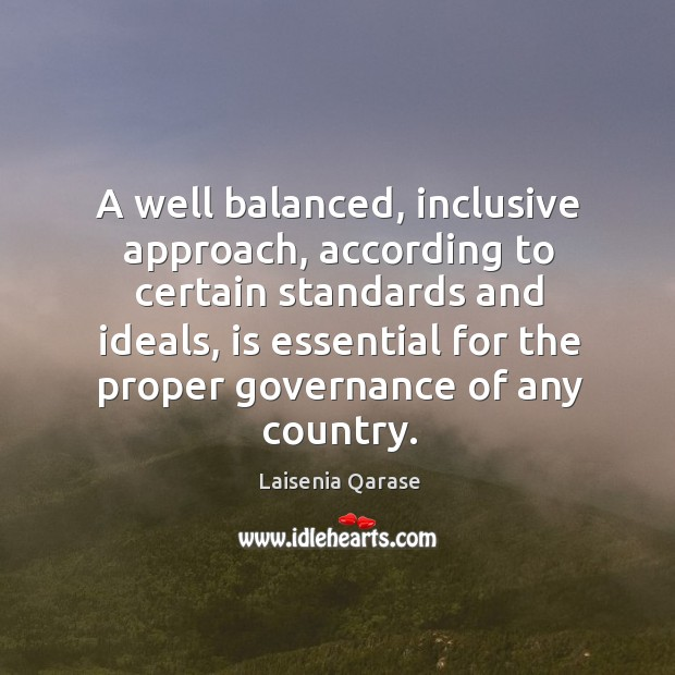A well balanced, inclusive approach, according to certain standards and ideals Image