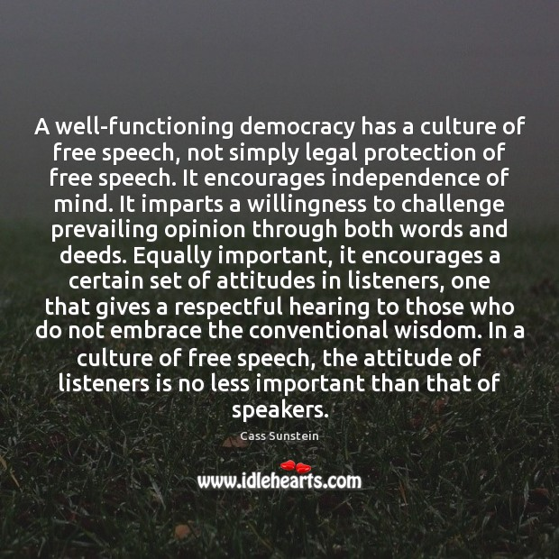 Image, A well-functioning democracy has a culture of free speech, not simply legal