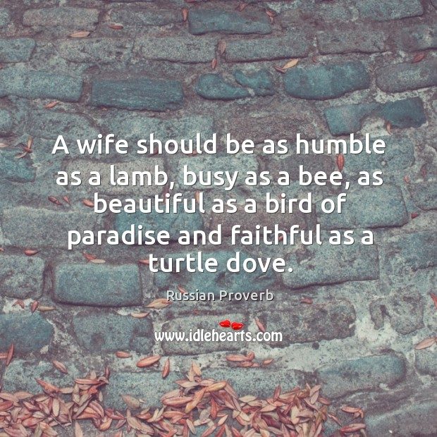 A wife should be as humble as a lamb. Russian Proverbs Image
