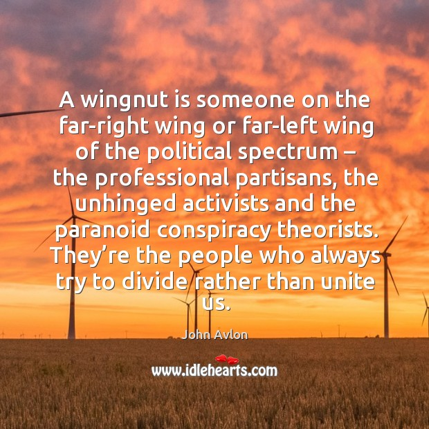 A wingnut is someone on the far-right wing or far-left wing of the political spectrum John Avlon Picture Quote