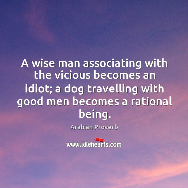 A wise man associating with the vicious becomes an idiot Arabian Proverbs Image