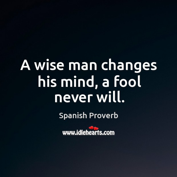 Image, A wise man changes his mind, a fool never will.