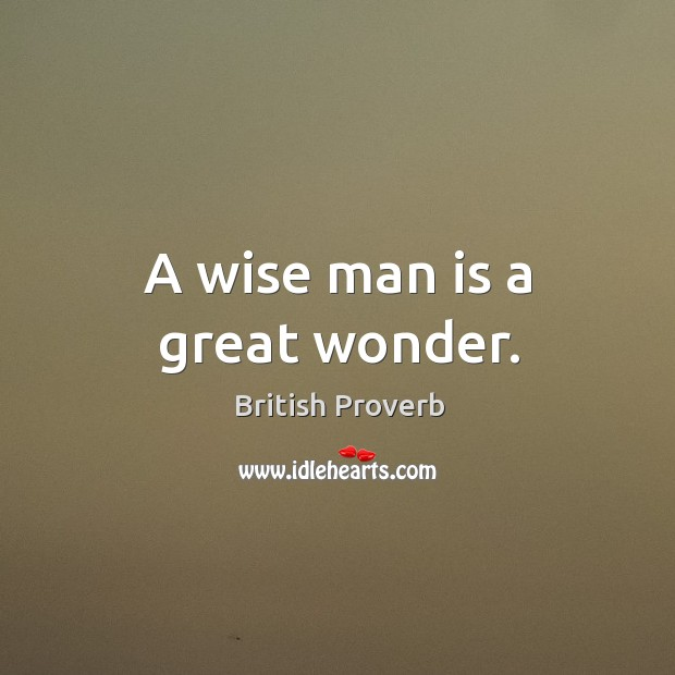 A wise man is a great wonder. British Proverbs Image