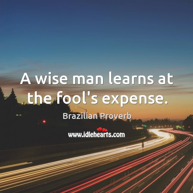 Image, A wise man learns at the fool's expense.