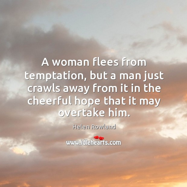 Image, A woman flees from temptation, but a man just crawls away from