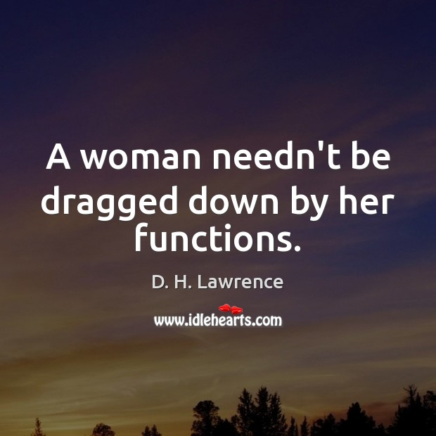 A woman needn't be dragged down by her functions. Image