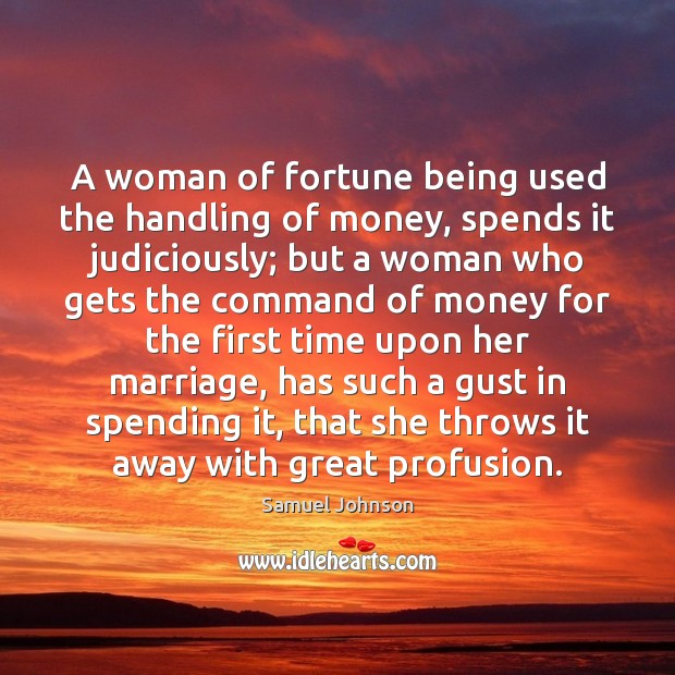 Image, A woman of fortune being used the handling of money, spends it