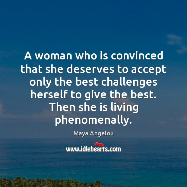 Image, A woman who is convinced that she deserves to accept only the