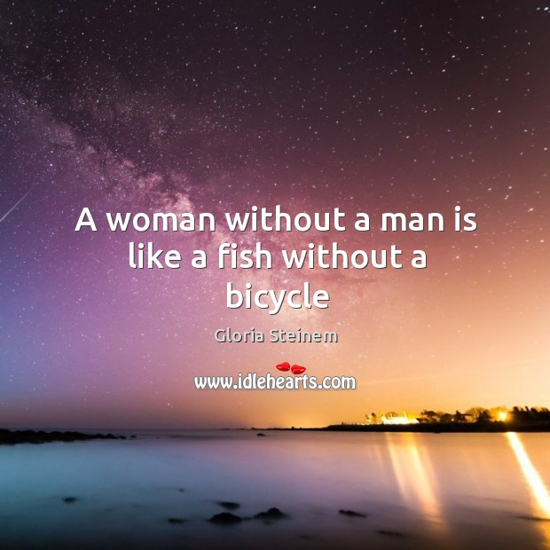 A woman without a man is like a fish without a bicycle Image