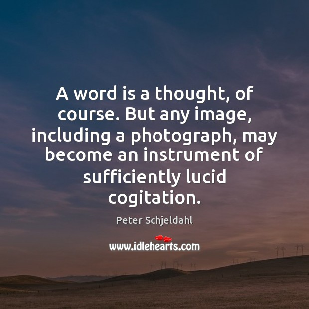 A word is a thought, of course. But any image, including a Peter Schjeldahl Picture Quote