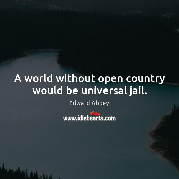 A world without open country would be universal jail. Edward Abbey Picture Quote