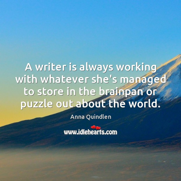 Image, A writer is always working with whatever she's managed to store in