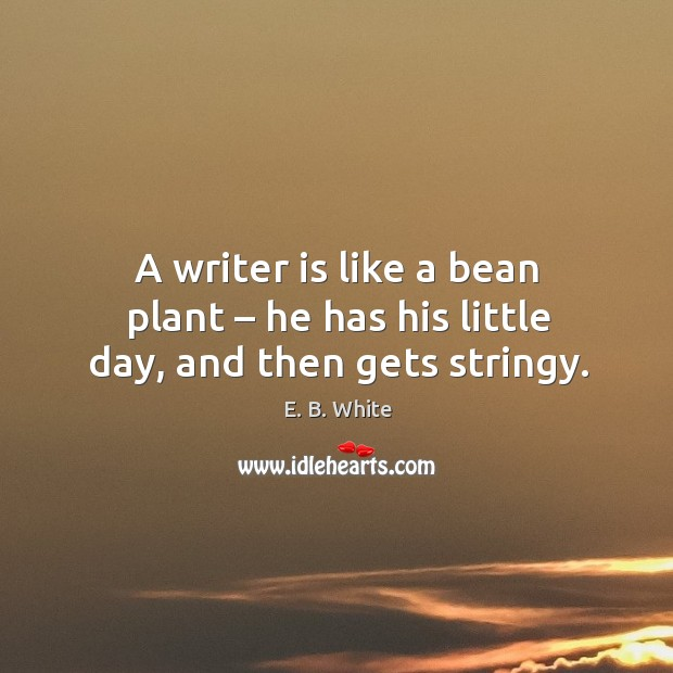 A writer is like a bean plant – he has his little day, and then gets stringy. Image