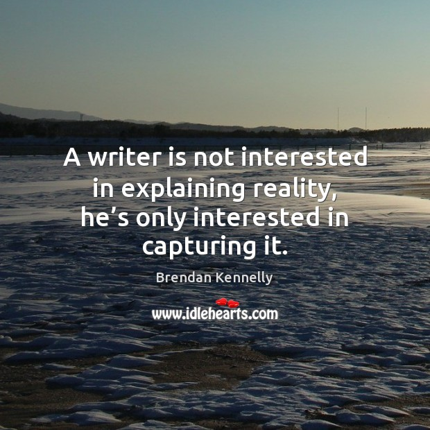 A writer is not interested in explaining reality, he's only interested in capturing it. Image