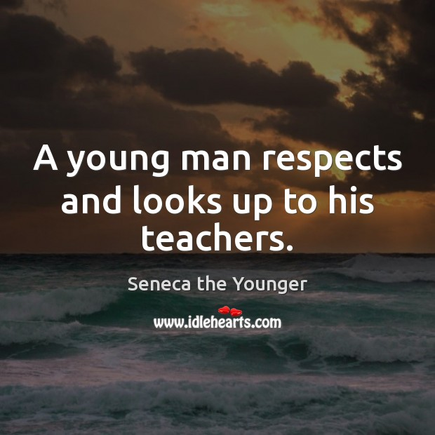 A young man respects and looks up to his teachers. Image