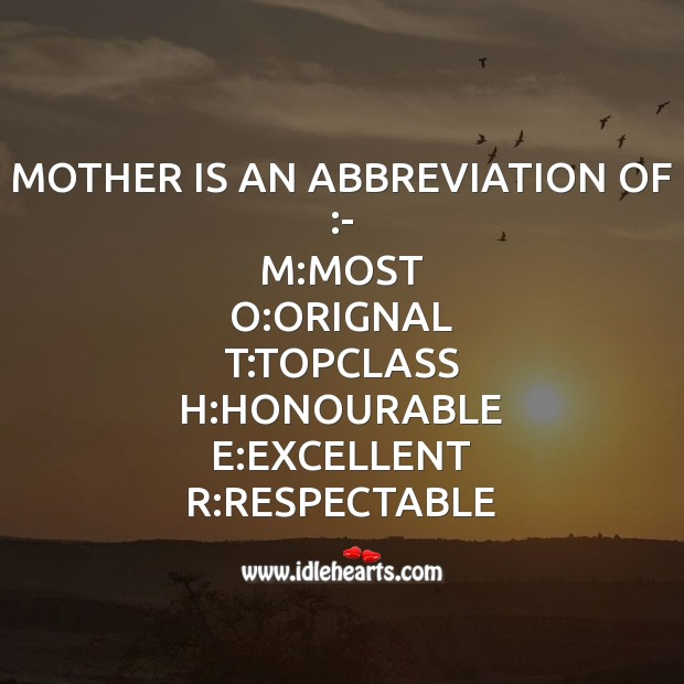 Abbreviation of Mother Mother's Day Messages Image