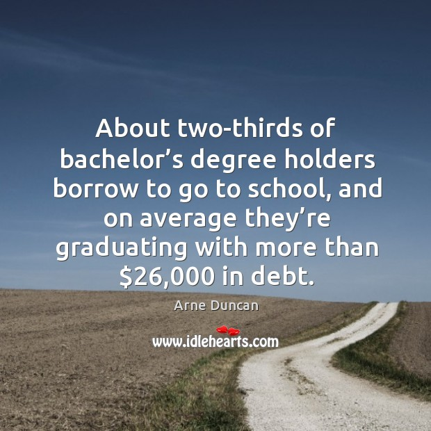 Image, About two-thirds of bachelor's degree holders borrow to go to school, and on average