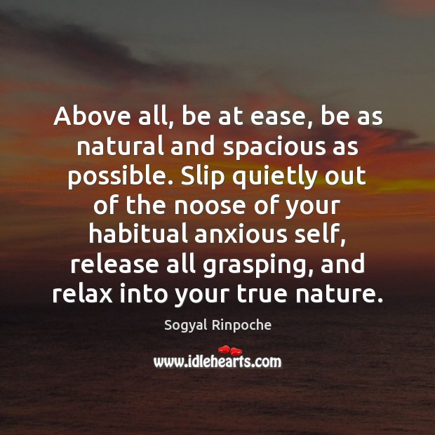 Above all, be at ease, be as natural and spacious as possible. Sogyal Rinpoche Picture Quote