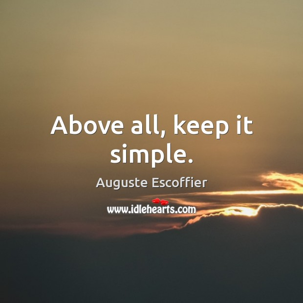 Image, Above all, keep it simple.