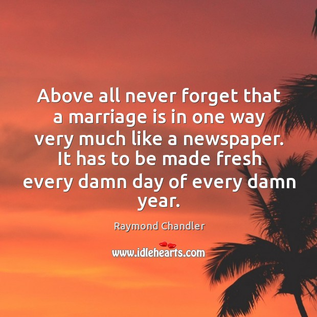 Image, Above all never forget that a marriage is in one way very