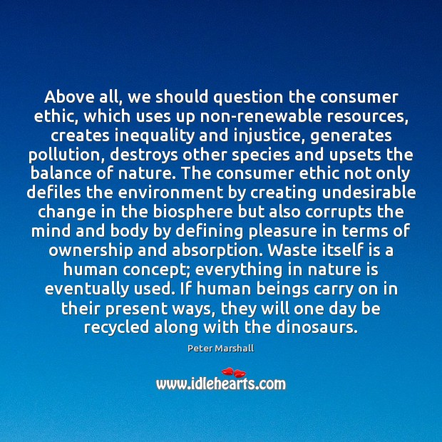 Above all, we should question the consumer ethic, which uses up non-renewable Peter Marshall Picture Quote