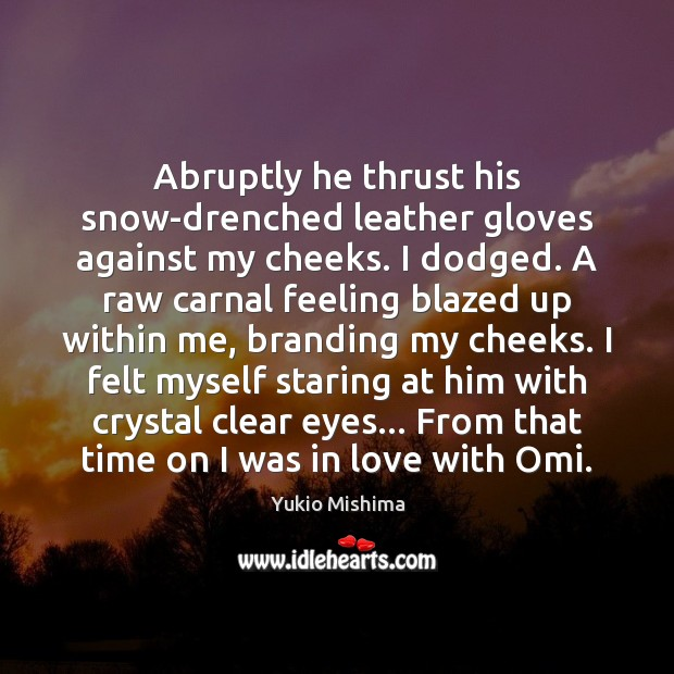 Image, Abruptly he thrust his snow-drenched leather gloves against my cheeks. I dodged.