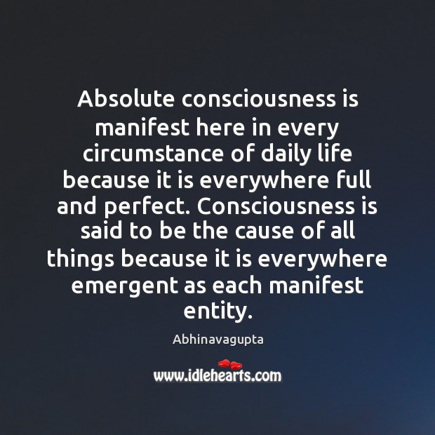 Image, Absolute consciousness is manifest here in every circumstance of daily life because