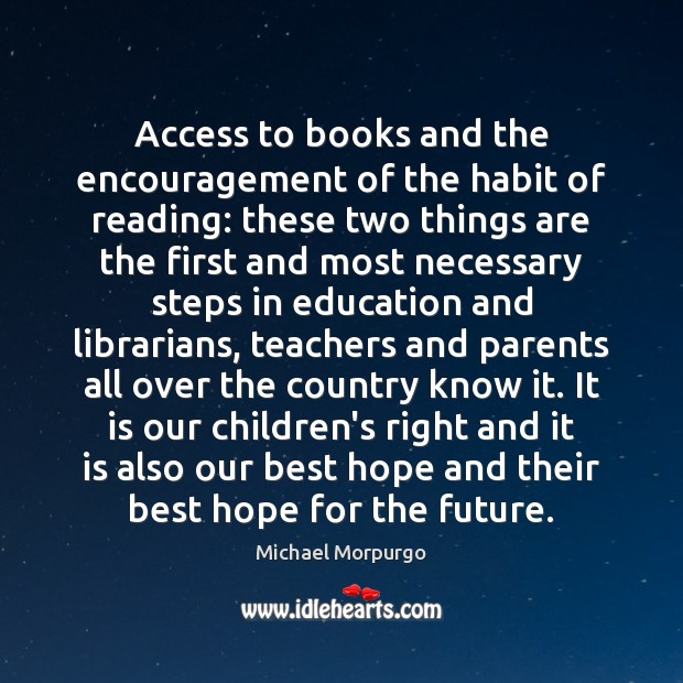 Access to books and the encouragement of the habit of reading: these Image