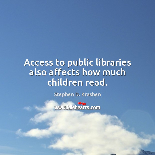 Access to public libraries also affects how much children read. Image