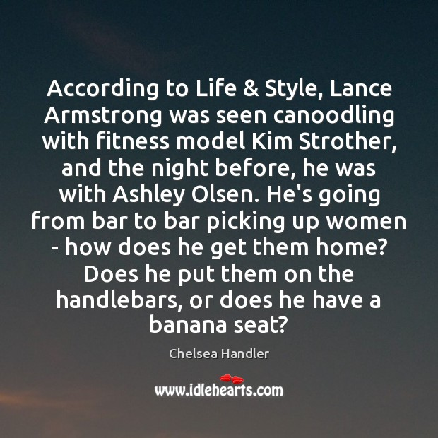 According to Life & Style, Lance Armstrong was seen canoodling with fitness model Image