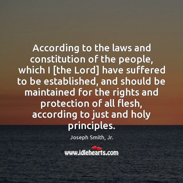 According to the laws and constitution of the people, which I [the Joseph Smith, Jr. Picture Quote