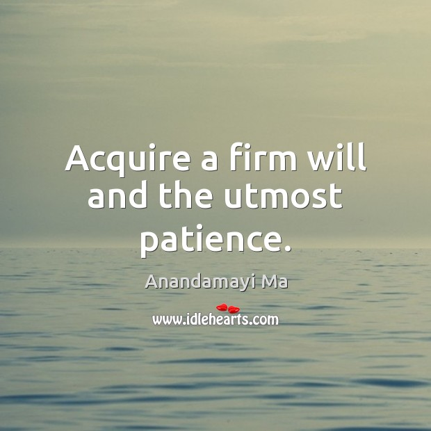 Image, Acquire a firm will and the utmost patience.